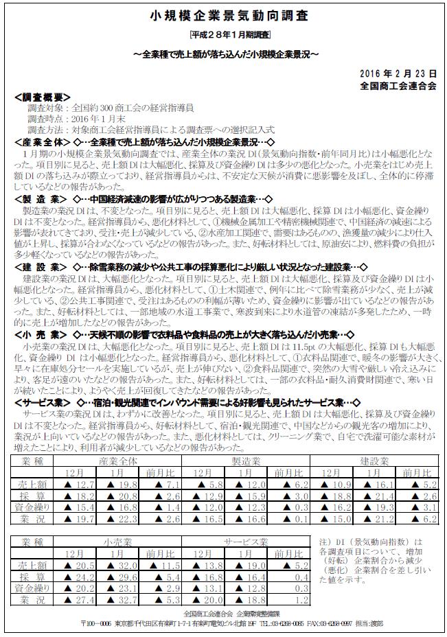 ⑤景気動向調査H28.1